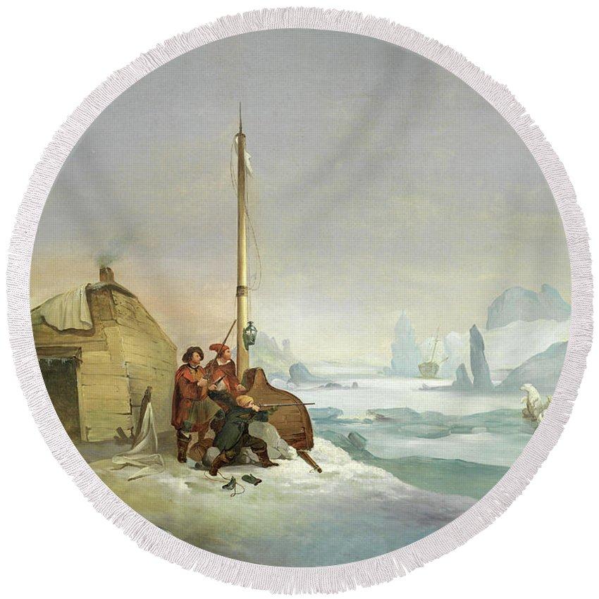 Francois-auguste Biard Round Beach Towel featuring the painting Nova Zembla Coast by Francois-Auguste Biard