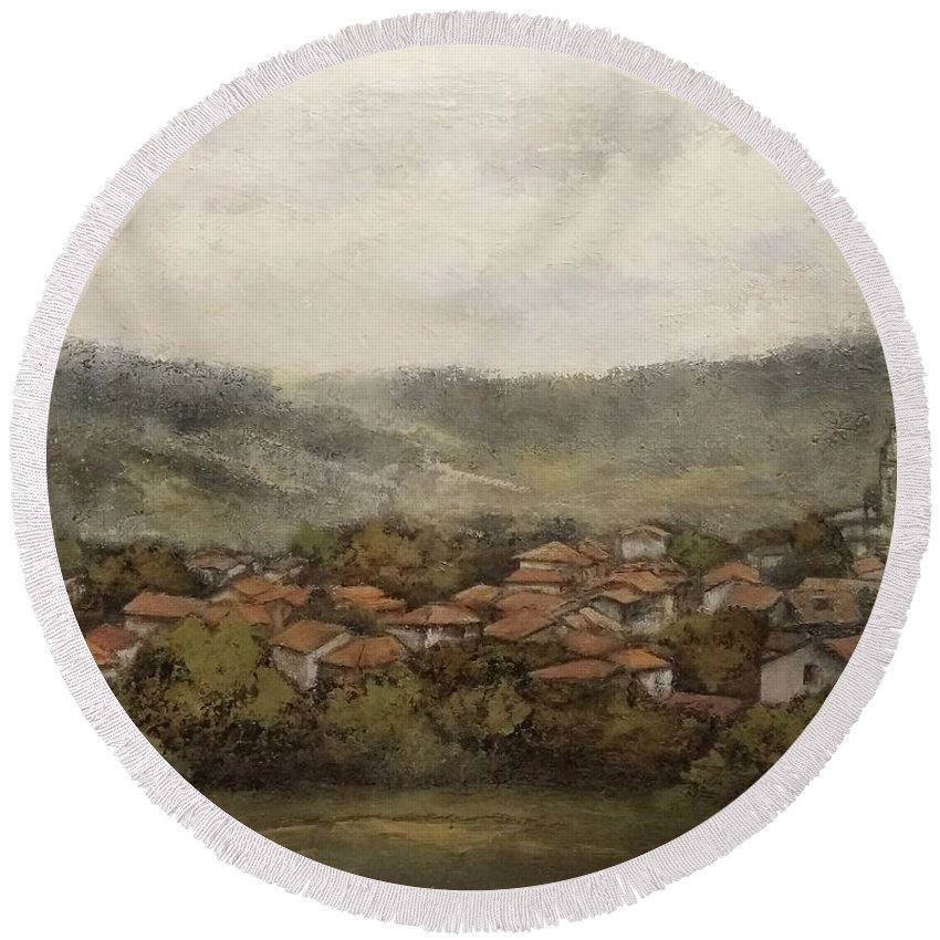 Cantabria Round Beach Towel featuring the painting Novales-Cantabria by Tomas Castano