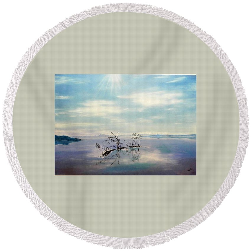 Late Novemeber In Bavaria Round Beach Towel featuring the painting November On A Bavarian Lake by Helmut Rottler
