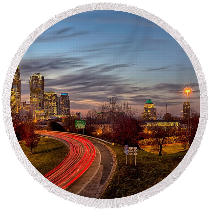 Architecture Round Beach Towel featuring the photograph November Sun Setting Over Charlotte North Carolina Skyline by Alex Grichenko