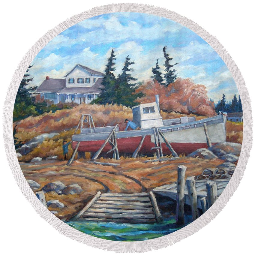 Boat Round Beach Towel featuring the painting Novia Scotia by Richard T Pranke