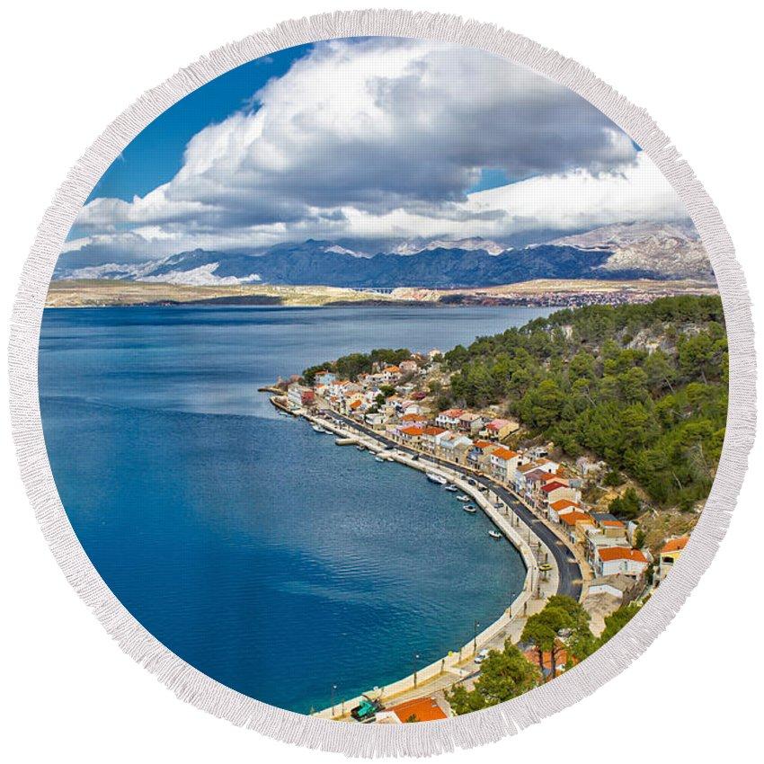 Sea Round Beach Towel featuring the photograph Novigrad Dalmatinski Fishermen Village Bay by Brch Photography