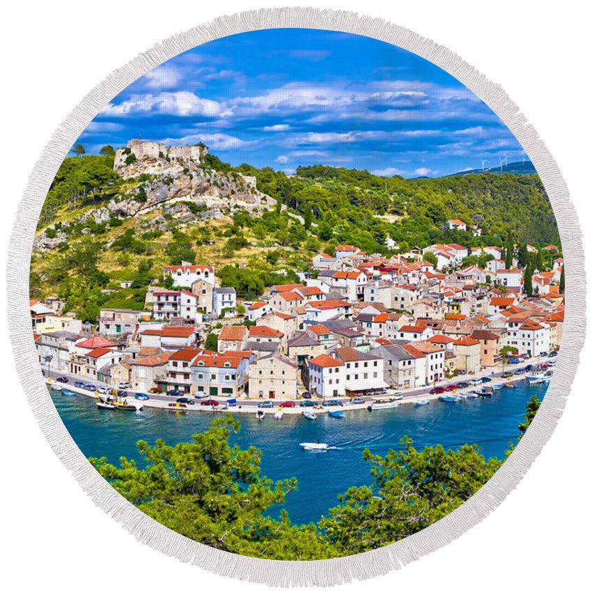 Croatia Round Beach Towel featuring the photograph Novigrad Dalmatinski Waterfront And Bay View by Brch Photography