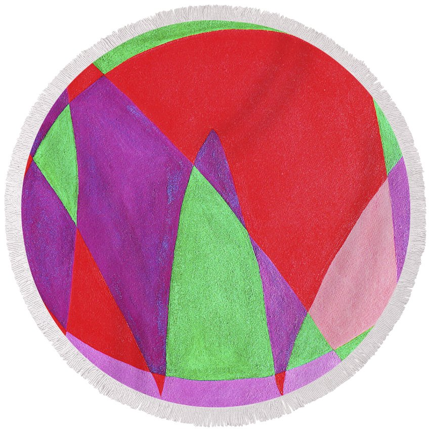 Abstract Round Beach Towel featuring the painting Now In Abstract Text Art by Lee Serenethos