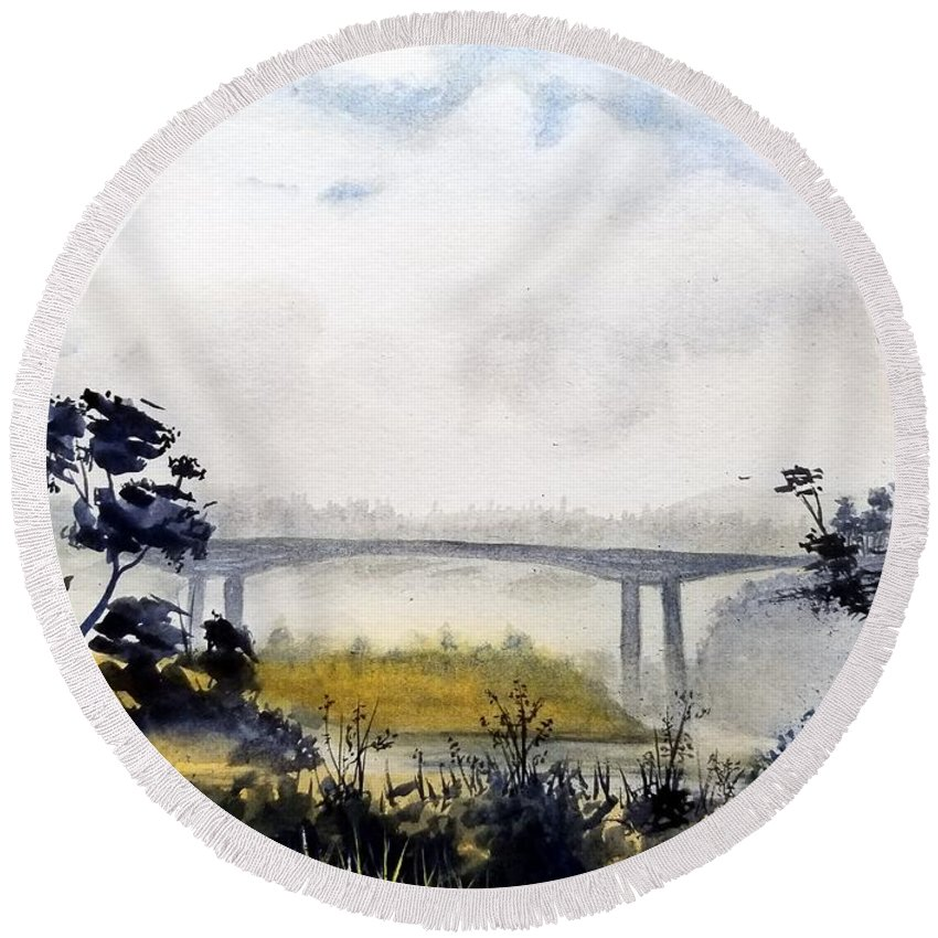 Ocean Round Beach Towel featuring the painting Noyo Harbor by Bruce Holder