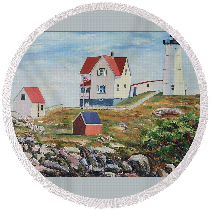 Nubble Light House Round Beach Towel featuring the painting Nubble Light House Maine by Richard Nowak
