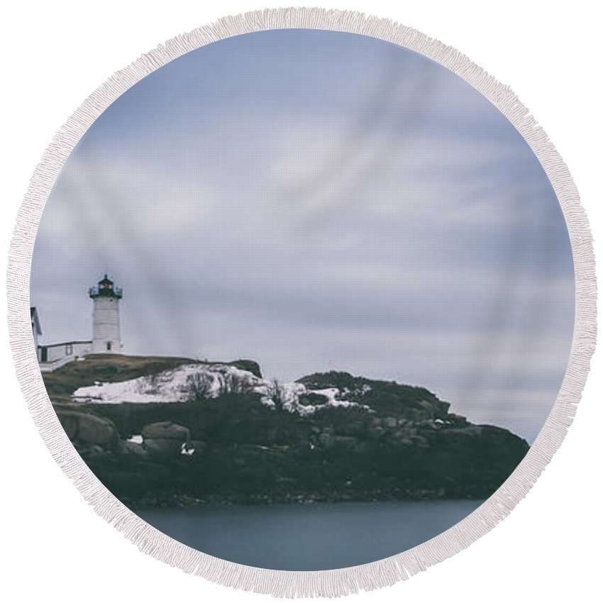 Nubble Lighthouse Round Beach Towel featuring the photograph Nubble Lighthouse Overcast by Michael Ver Sprill