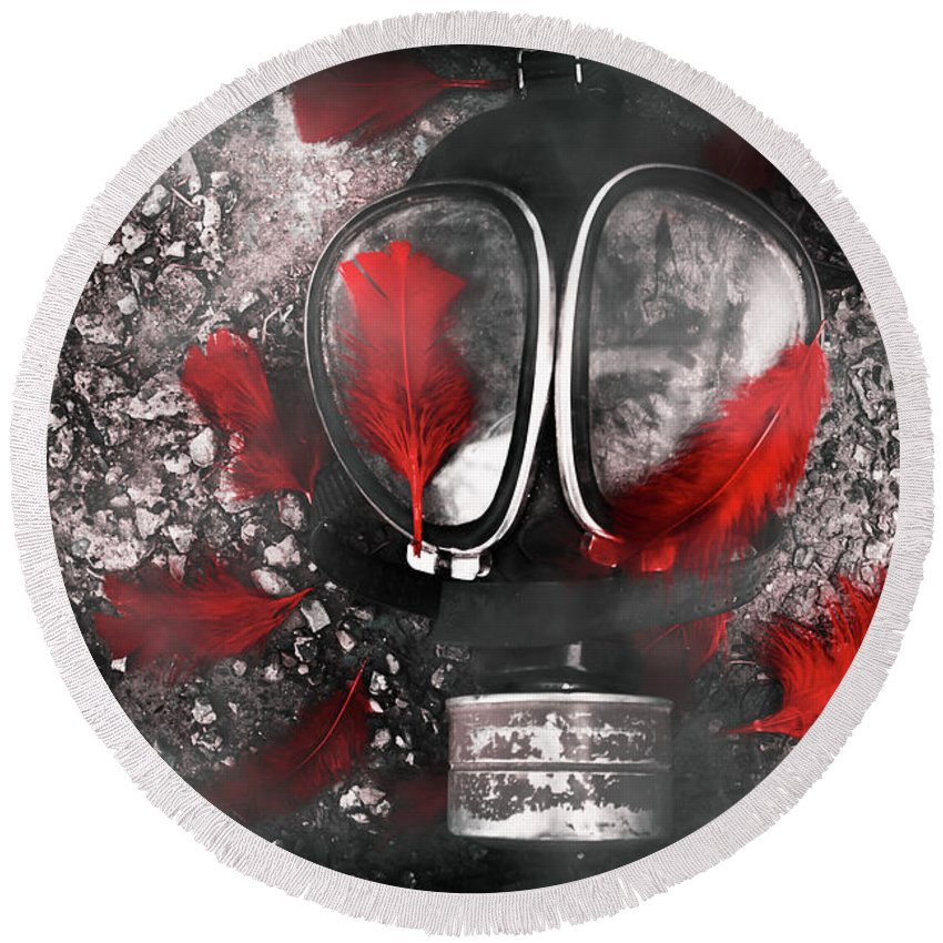 Gasmask Round Beach Towel featuring the photograph Nuclear Smog by Jorgo Photography - Wall Art Gallery