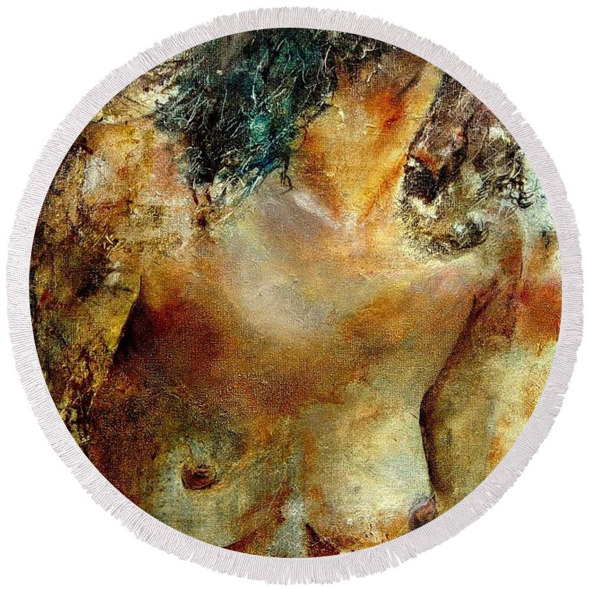 Girl Nude Round Beach Towel featuring the painting Nude 34 by Pol Ledent
