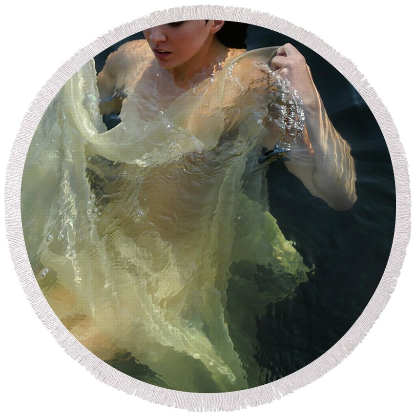 Round Beach Towel featuring the photograph Celestial Motion by Adele Aron Greenspun