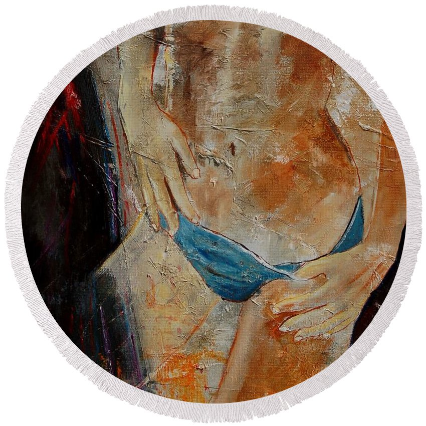 Girl Nude Round Beach Towel featuring the painting Nude 450608 by Pol Ledent