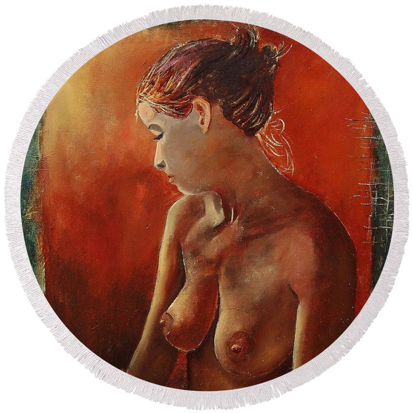 Nude Round Beach Towel featuring the painting Nude 458755 by Pol Ledent