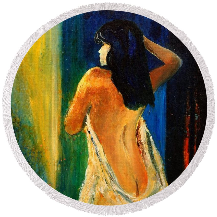Girl Round Beach Towel featuring the painting Nude 459070 by Pol Ledent