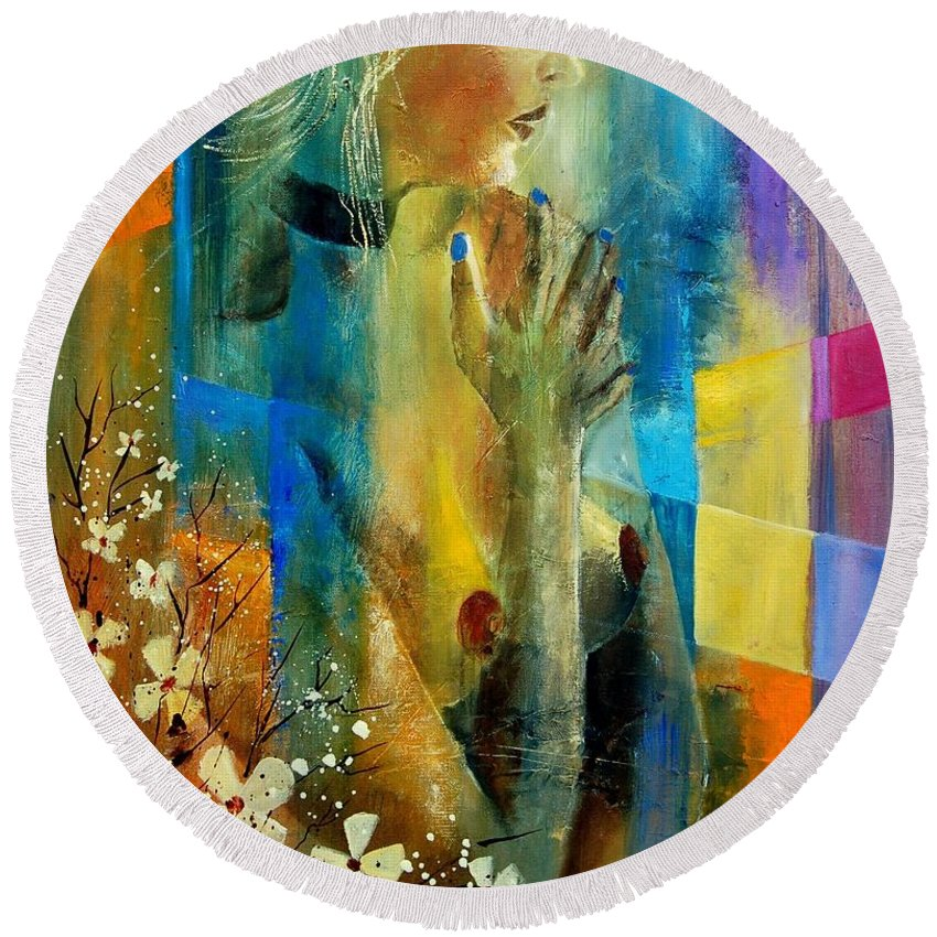 Nude Round Beach Towel featuring the painting Nude 5609082 by Pol Ledent