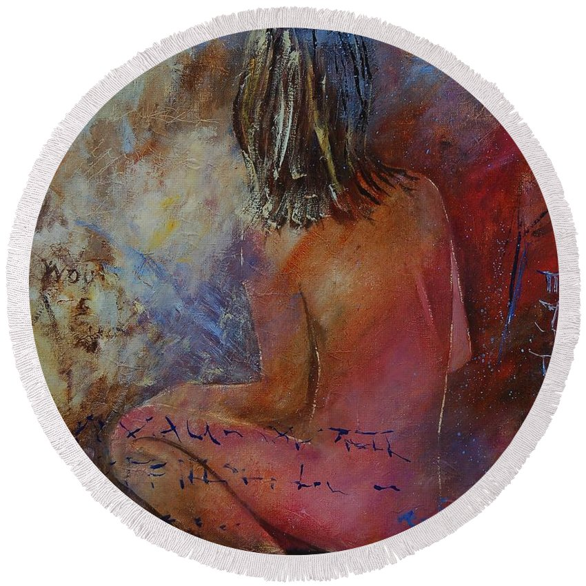 Nude Round Beach Towel featuring the painting Nude 569090 by Pol Ledent