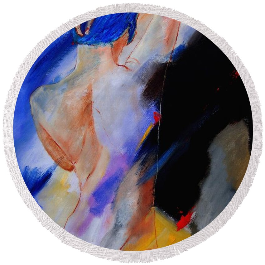 Nude Round Beach Towel featuring the painting Nude 579020 by Pol Ledent