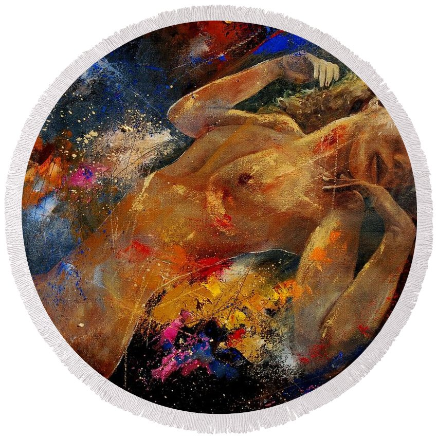 Nude Round Beach Towel featuring the painting Nude 67 0407 by Pol Ledent