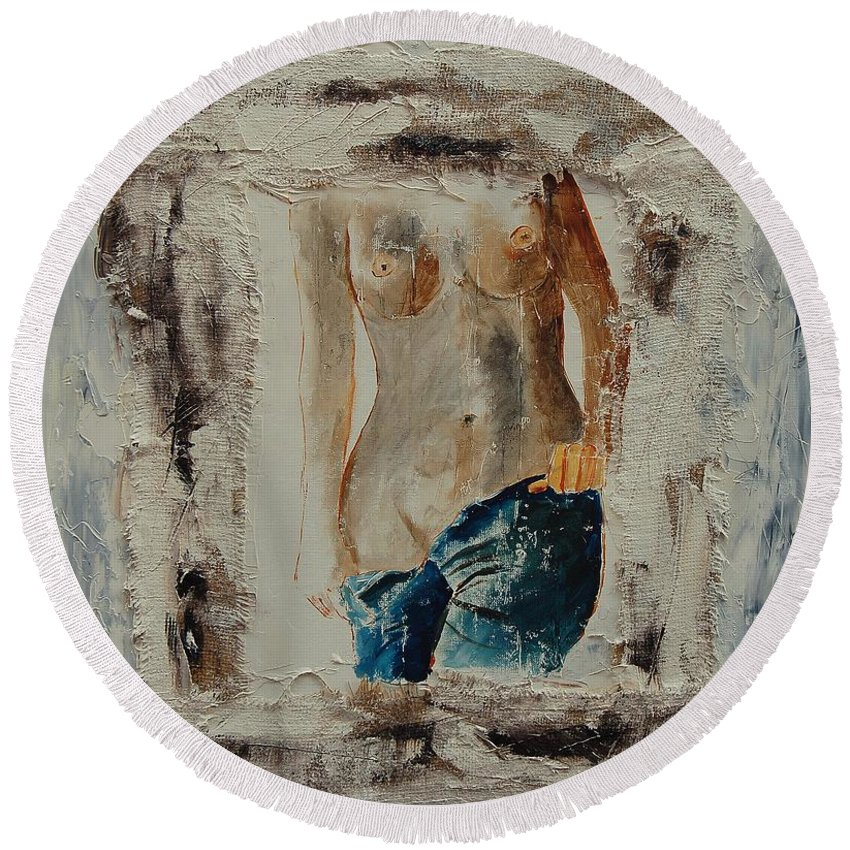 Girl Round Beach Towel featuring the painting Nude 674521 by Pol Ledent