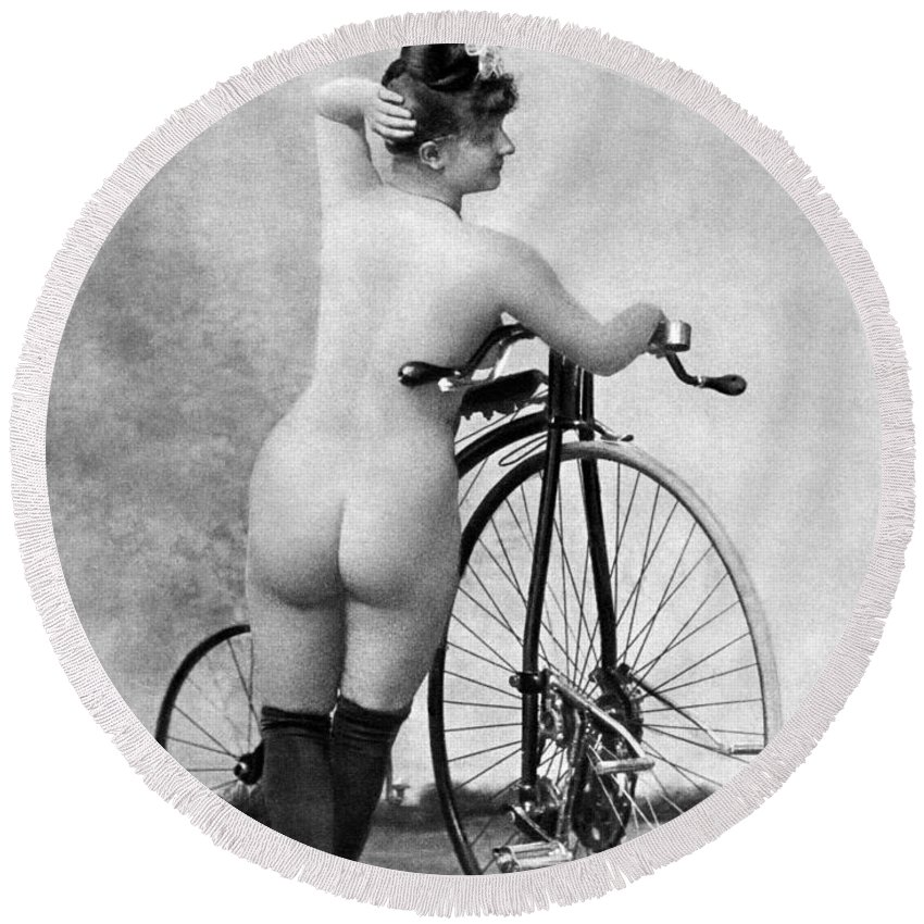 1885 Round Beach Towel featuring the photograph Nude And Bicycle, C1885 by Granger