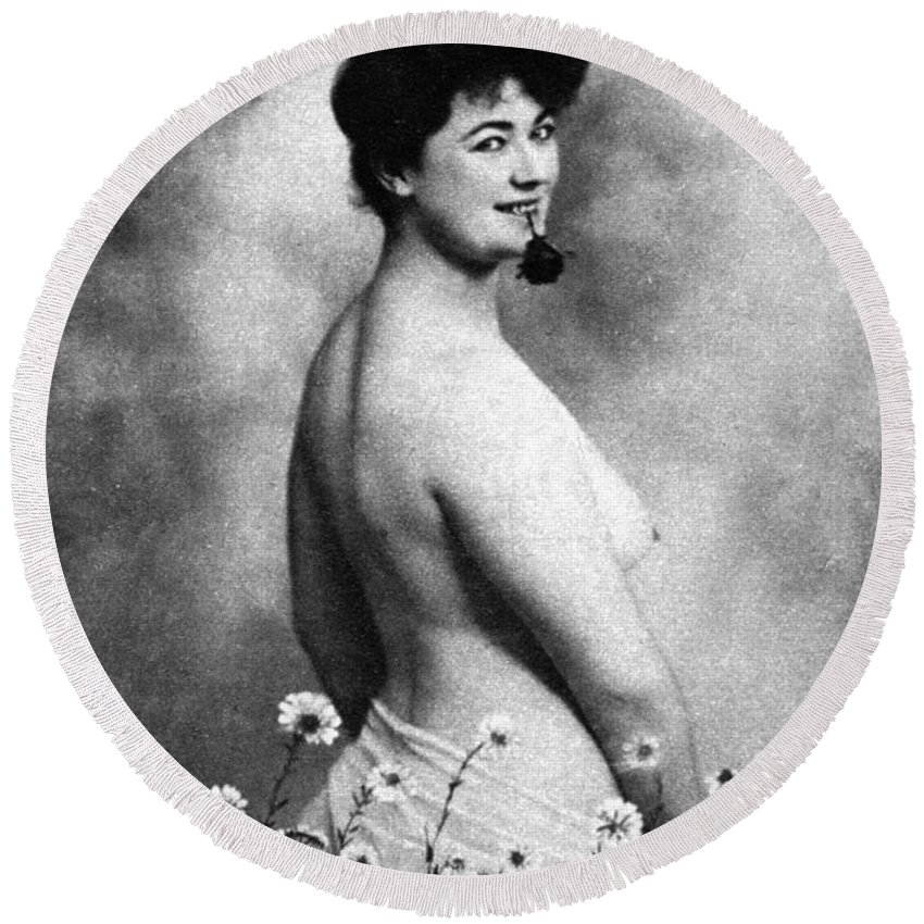 1903 Round Beach Towel featuring the photograph Nude And Flowers, 1903 by Granger