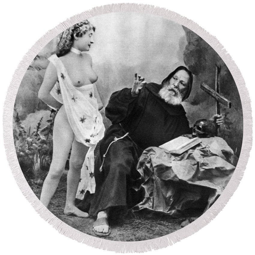 1895 Round Beach Towel featuring the photograph Nude And Monk, C1895 by Granger