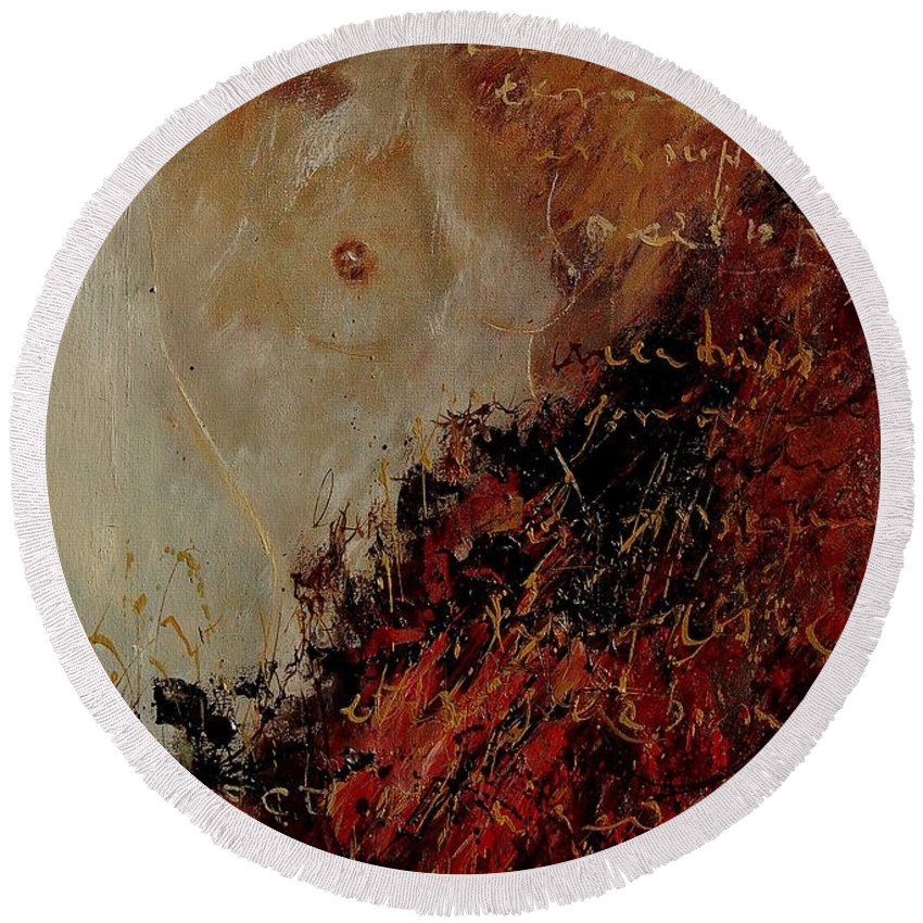 Girl Round Beach Towel featuring the painting Nude Coming Out Of Abstraction by Pol Ledent