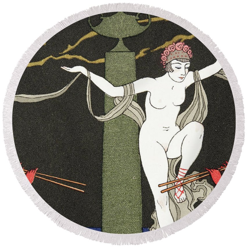 Pipes Round Beach Towel featuring the painting Nude Dancer by Georges Barbier
