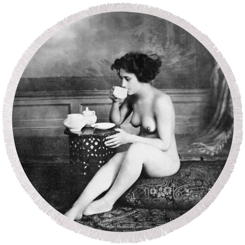19th Century Round Beach Towel featuring the painting Nude Drinking Tea, 19th Ct by Granger