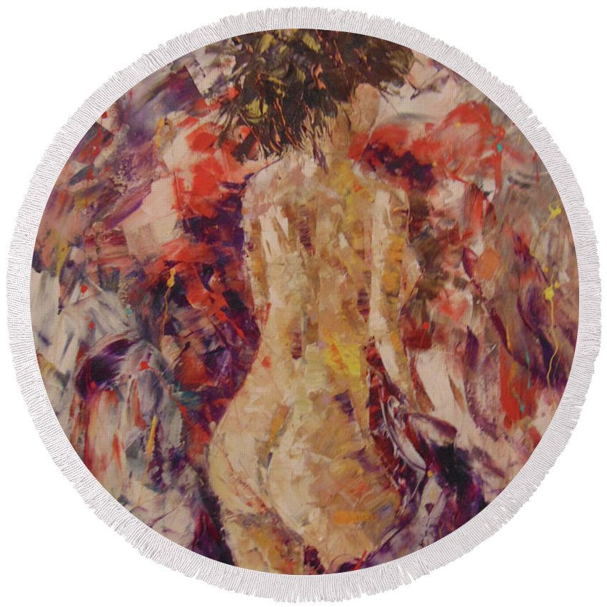 Frederic Payet Round Beach Towel featuring the painting Nude by Frederic Payet
