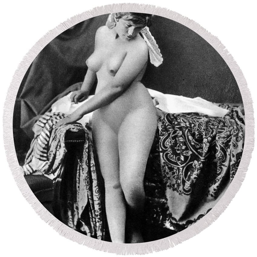 1885 Round Beach Towel featuring the photograph Nude In Bonnet, C1885 by Granger