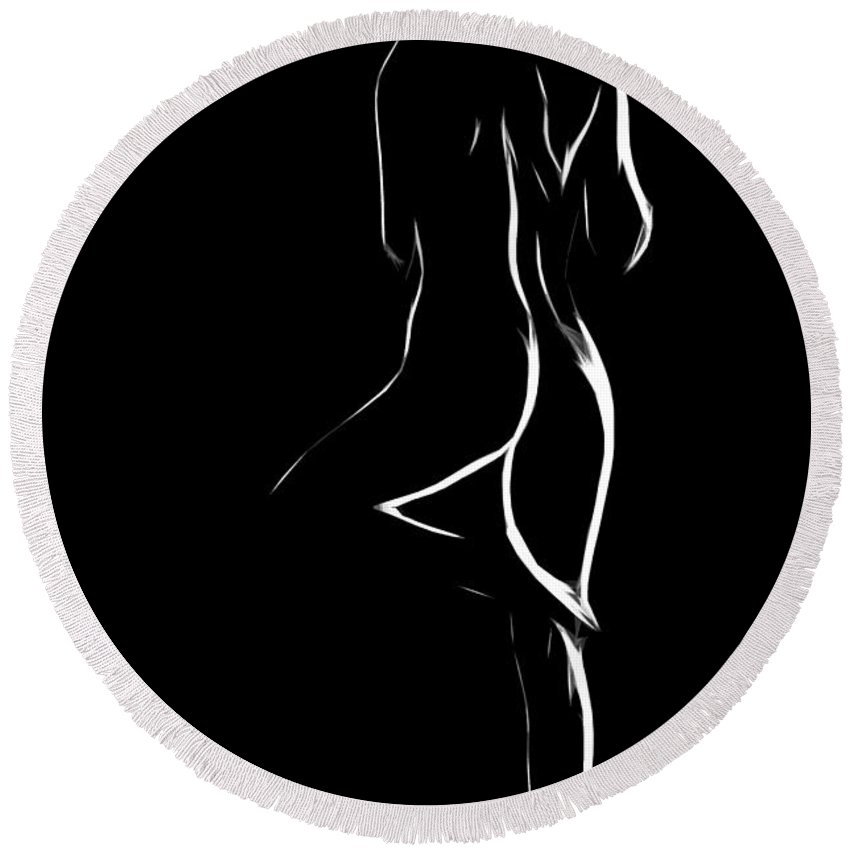Dark Round Beach Towel featuring the painting Nude In White And Black by Steve K