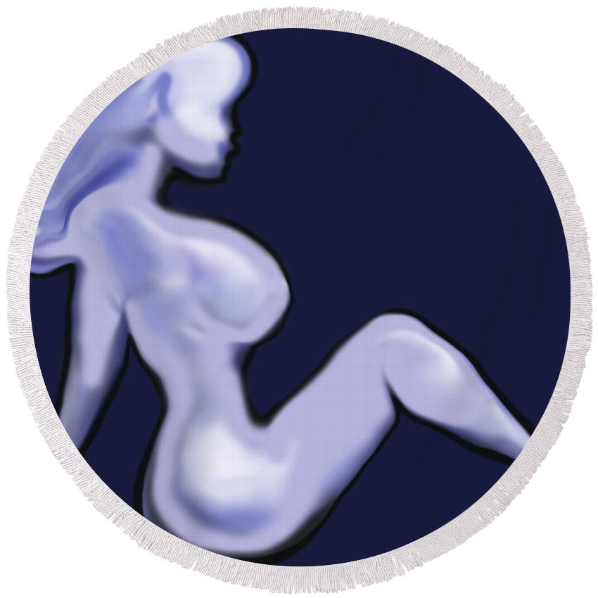 Babe Round Beach Towel featuring the digital art Nude by Kevin Middleton