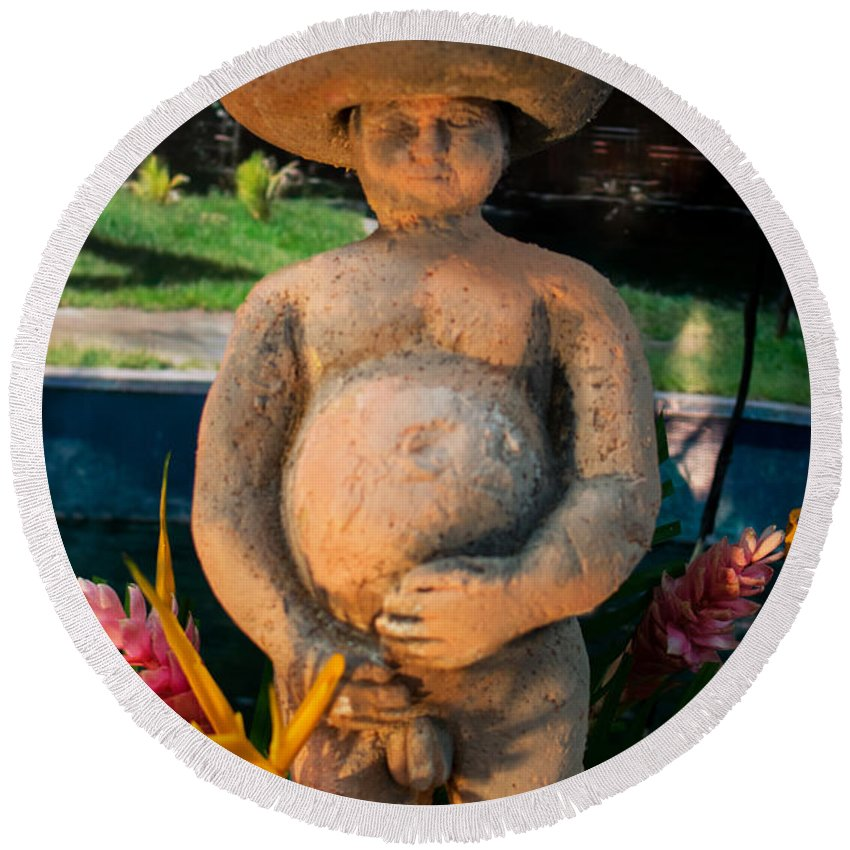 Nude Round Beach Towel featuring the photograph Nude Man Scupture 1 by Totto Ponce