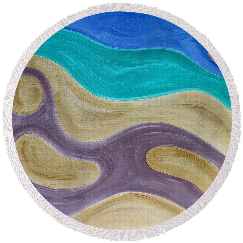 Beach Round Beach Towel featuring the painting Nude On Beach by Patrick J Murphy