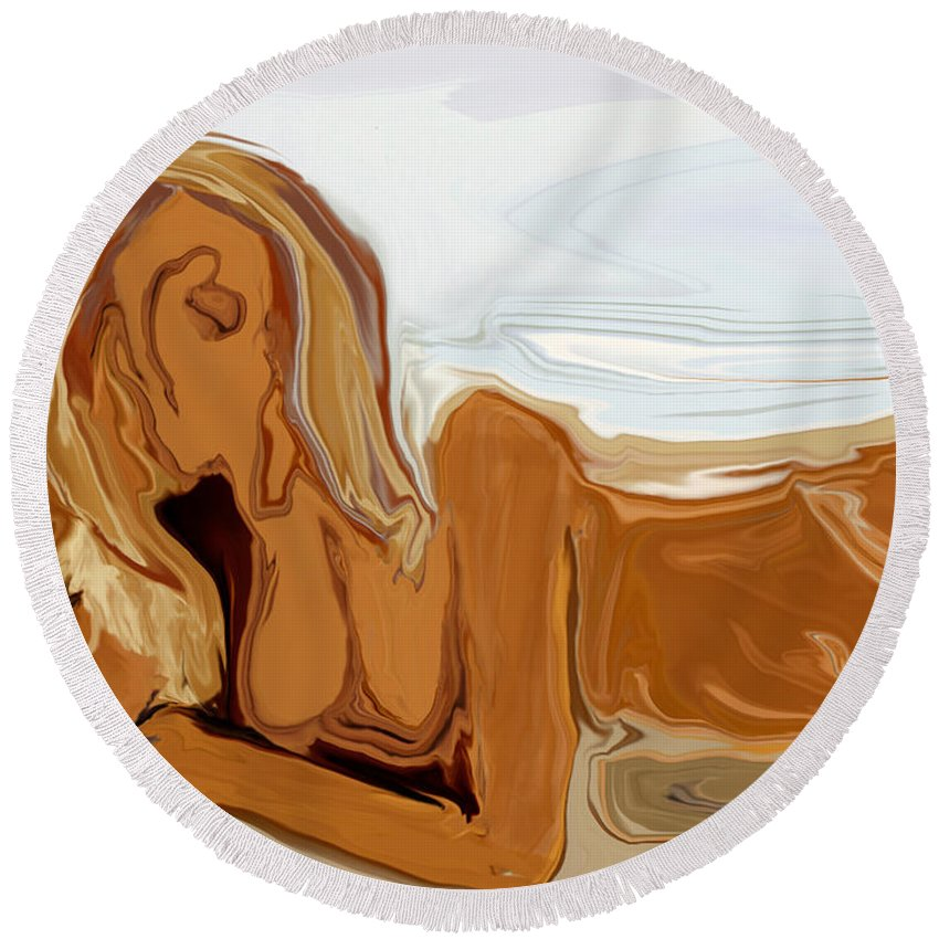 Abstract Round Beach Towel featuring the digital art Nude On The Beach by Rabi Khan