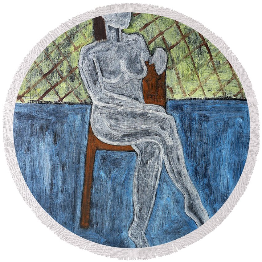 Nude Round Beach Towel featuring the painting Nude by Patrick J Murphy