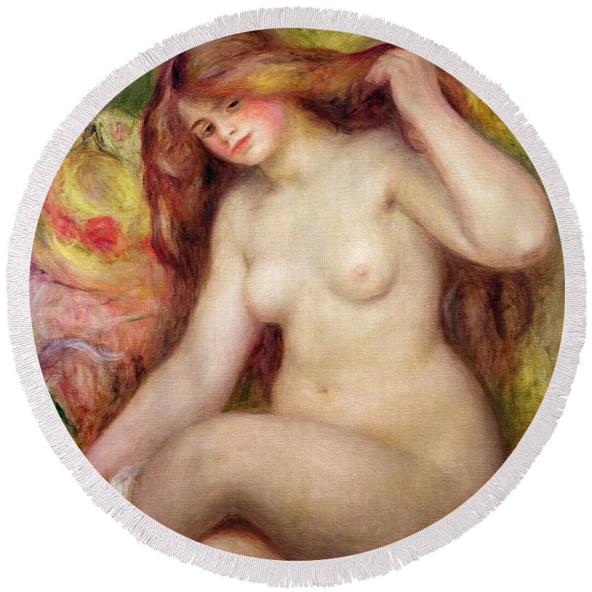 Nude Round Beach Towel featuring the painting Nude by Renoir