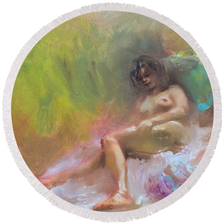 Nude Girl Round Beach Towel featuring the painting Nude Study by Ylli Haruni