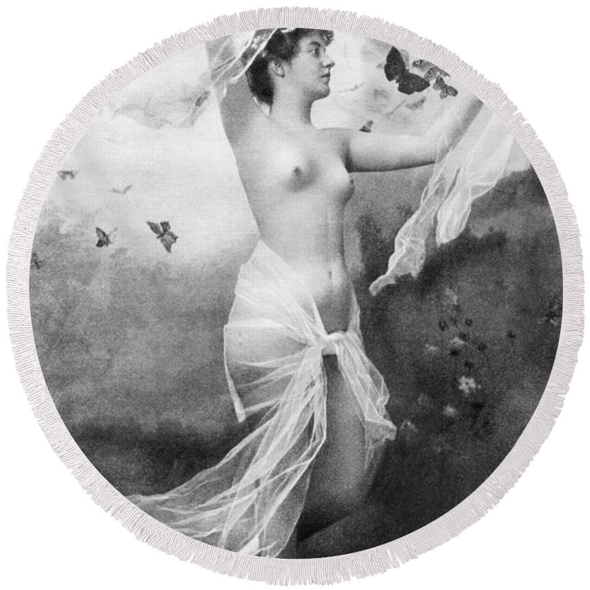 1900 Round Beach Towel featuring the painting Nude With Butterflies by Granger