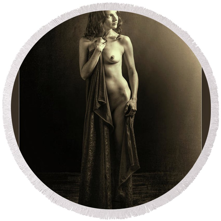 Nude Round Beach Towel featuring the photograph Nude Young Woman 1718.501 by Kendree Miller