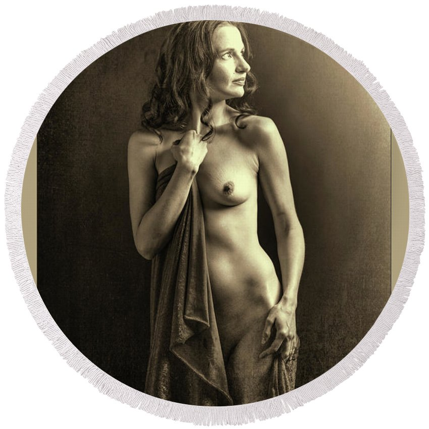 Nude Round Beach Towel featuring the photograph Nude Young Woman 1718.502 by Kendree Miller