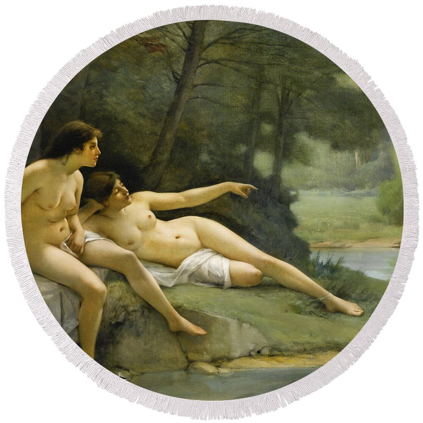 Emmanuel Benner Round Beach Towel featuring the painting Nudes In The Woods by Emmanuel Benner