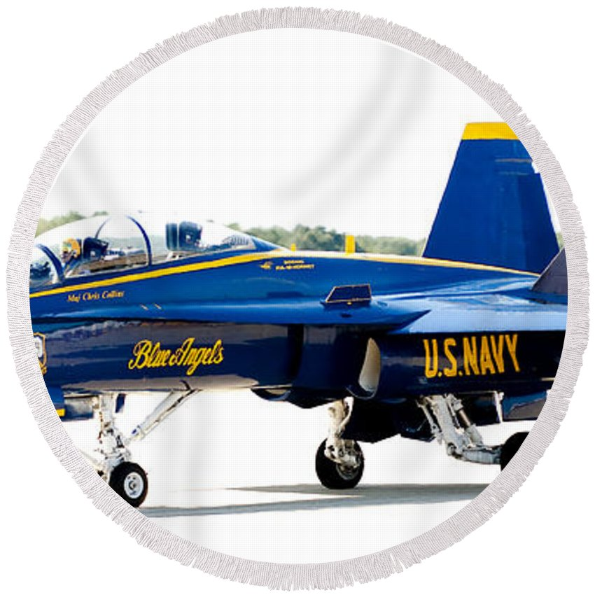 Blue Angel Round Beach Towel featuring the photograph Number 4 by Greg Fortier