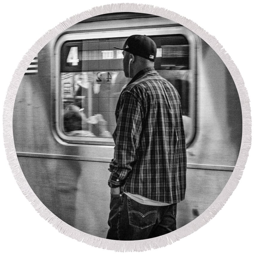 Subway Round Beach Towel featuring the photograph Number 4 Train by Fran Gallogly
