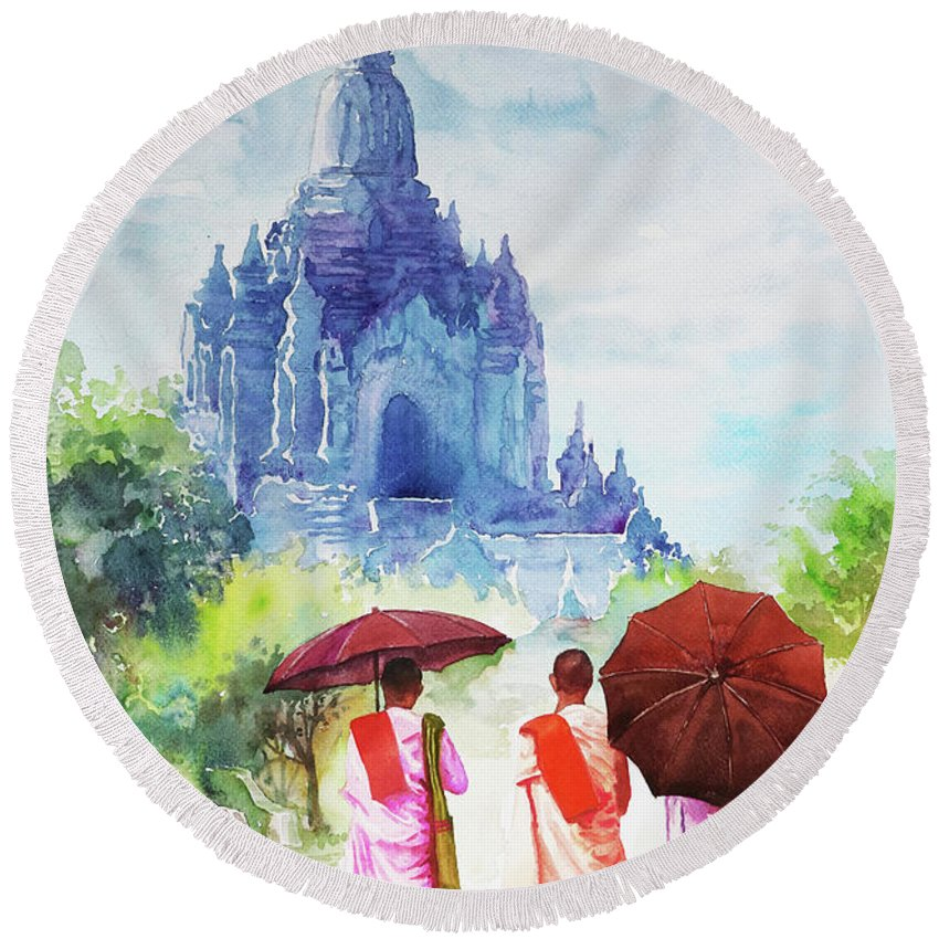 Landscape Round Beach Towel featuring the painting Nuns by Win Min Mg