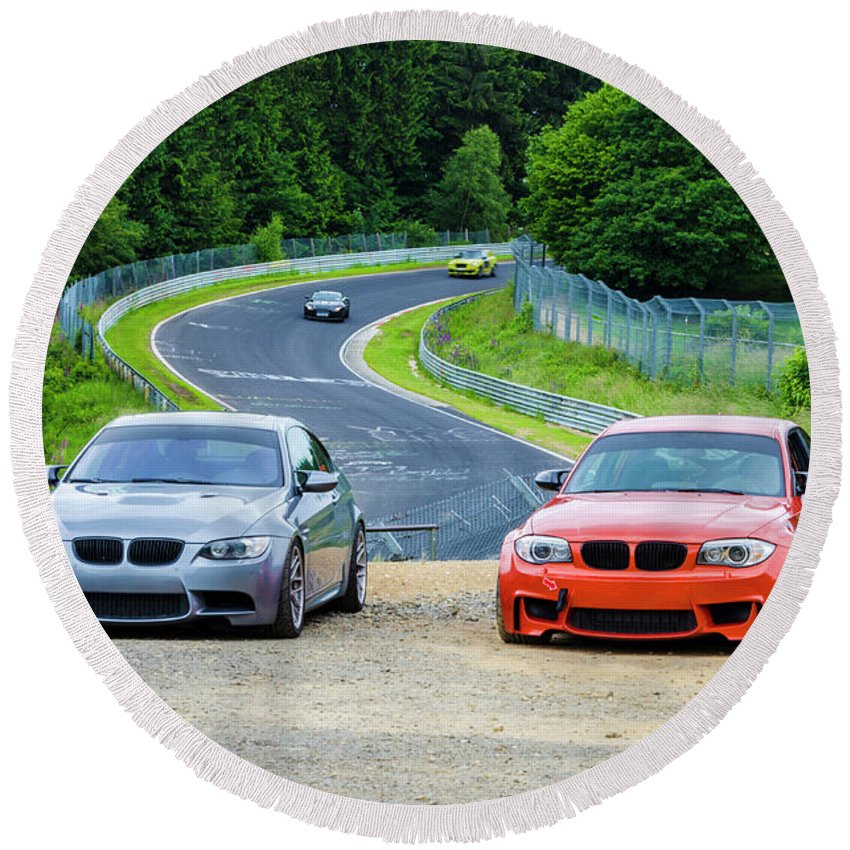 Germany Round Beach Towel featuring the photograph Nurburgring Race Track by Louis-Martin Carriere