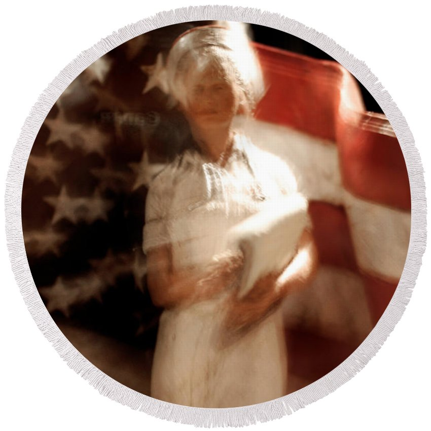 Motion Round Beach Towel featuring the photograph Nursing America by Ric Bascobert