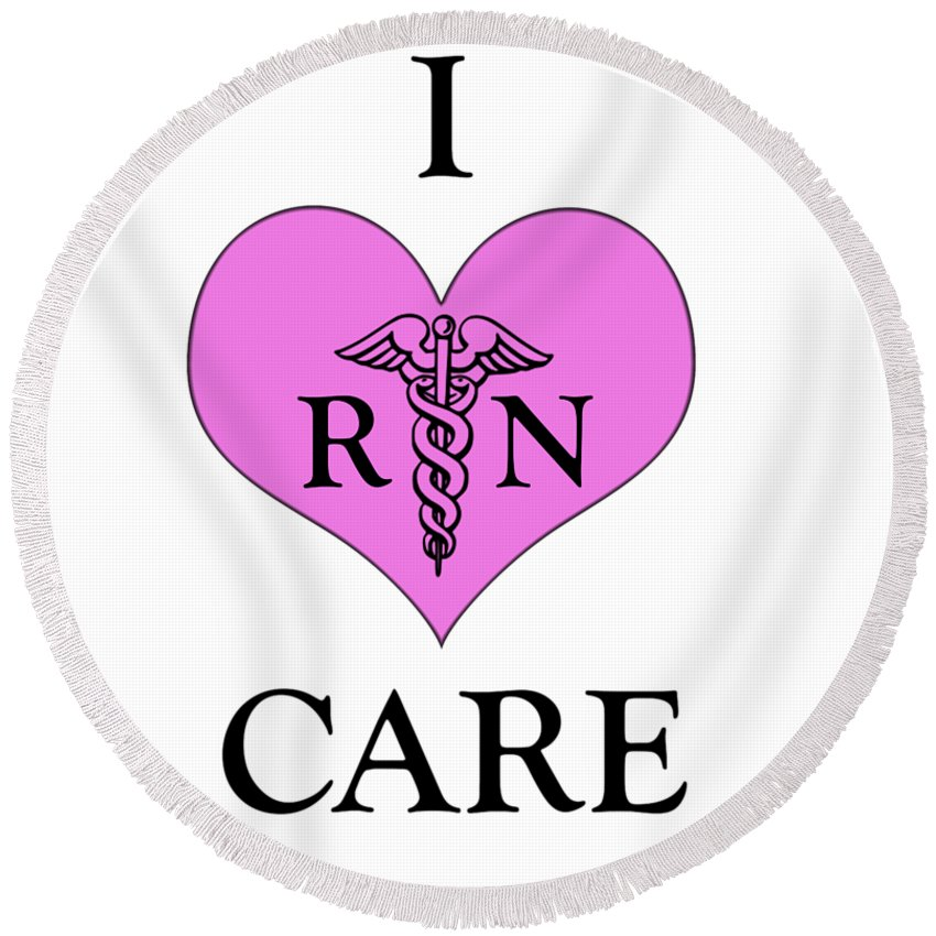 Caduceus Round Beach Towel featuring the photograph Nursing I Care - Pink by Mark Kiver