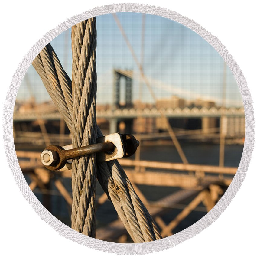 Brooklyn Bridge Round Beach Towel featuring the photograph Nuts And Bolts Of The Brooklyn Bridge by Alissa Beth Photography