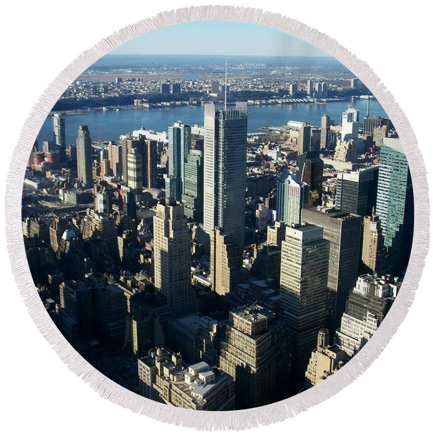 Nyc Round Beach Towel featuring the photograph Nyc 1 by Anita Burgermeister